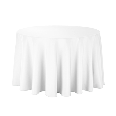 A white round cake tablecloth made of polyester