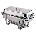 Stainless steel chafing dish availible to hire for catering events at Stamford Tableware Hire