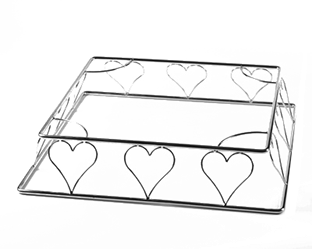 A heart shaped steel wedding cake stand