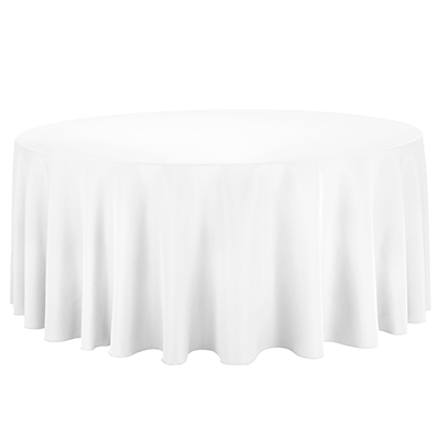A white round tablecloth made of polyester